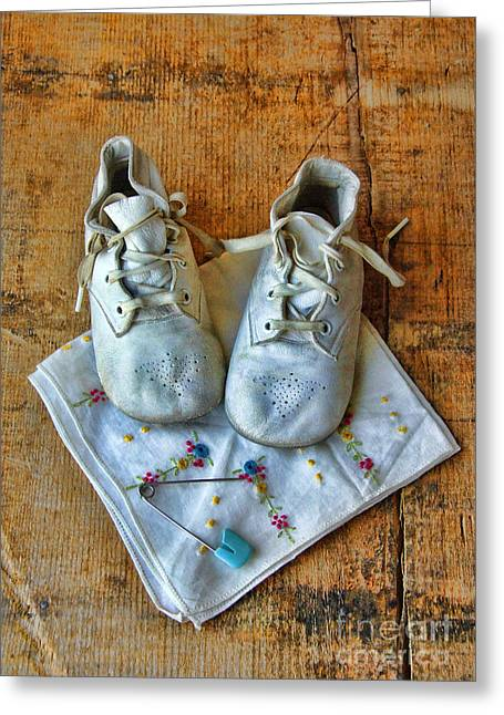 Vintage Baby Shoes On Wood Greeting Card by Jill Battaglia