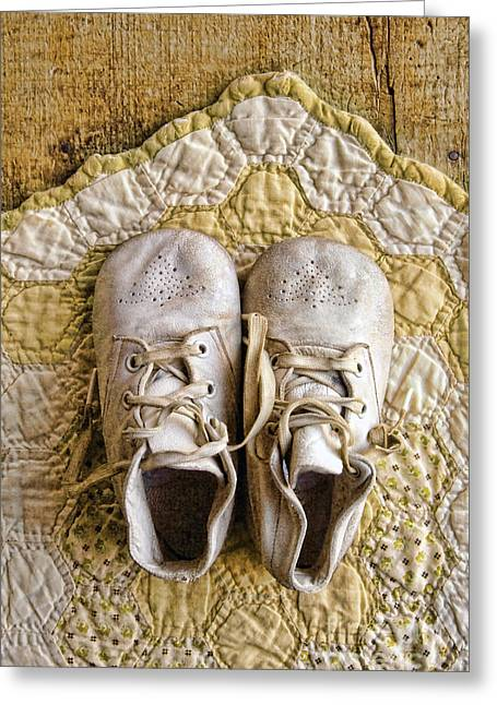 Old-fashioned Quilts Greeting Cards - Vintage Baby Shoes on Yellow Quilt Greeting Card by Jill Battaglia
