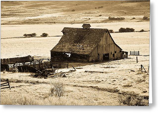 Old Western Photos Greeting Cards - Vintage Barn Greeting Card by Steve McKinzie