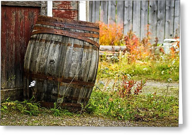 Barkerville Greeting Cards - Vintage Barrel Greeting Card by Wayne Stadler