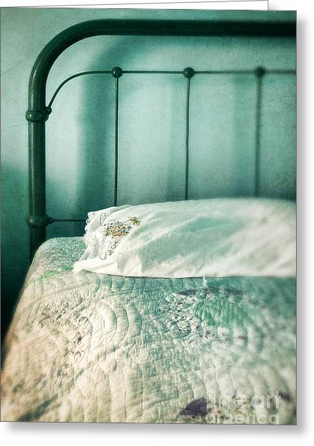 Bed Quilts Greeting Cards - Vintage Bed Greeting Card by Jill Battaglia