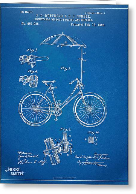 Umbrella Greeting Cards - Vintage Bicycle Parasol Patent Artwork 1896 Greeting Card by Nikki Marie Smith