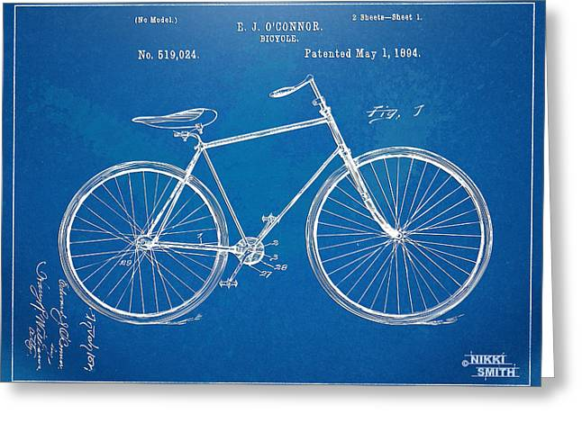 Blue Bike Greeting Cards - Vintage Bicycle Patent Artwork 1894 Greeting Card by Nikki Marie Smith