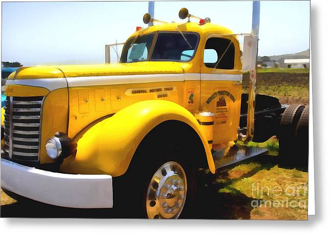Collar Digital Art Greeting Cards - Vintage Big Rig . 7D15483 Greeting Card by Wingsdomain Art and Photography