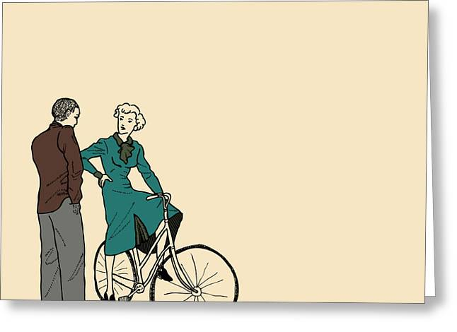 Bike Drawings Greeting Cards - Vintage Bike Couple Greeting Card by Karl Addison