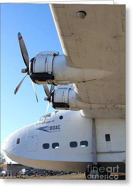 Airplane Propeller Greeting Cards - Vintage BOAC British Overseas Airways Corporation Speedbird Flying Boat . 7D11289 Greeting Card by Wingsdomain Art and Photography
