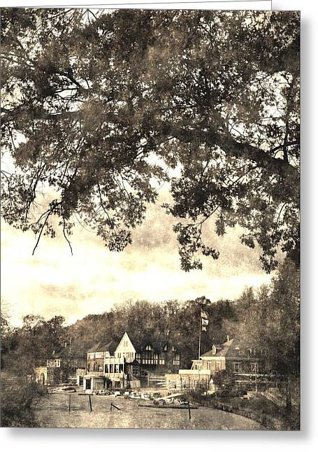 Boathouse Row Greeting Cards - Vintage Boathouse Row Greeting Card by Andrew Dinh