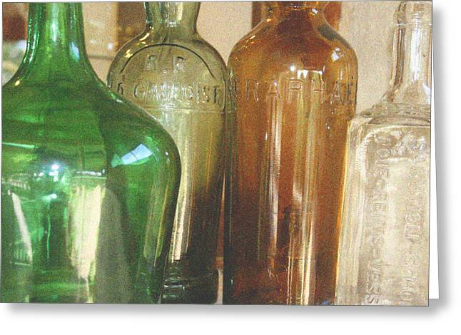 Flagon Greeting Cards - Vintage bottles Greeting Card by Nomad Art And  Design