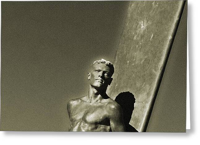 Vintage Bronze Surfer Greeting Card by Paul Topp