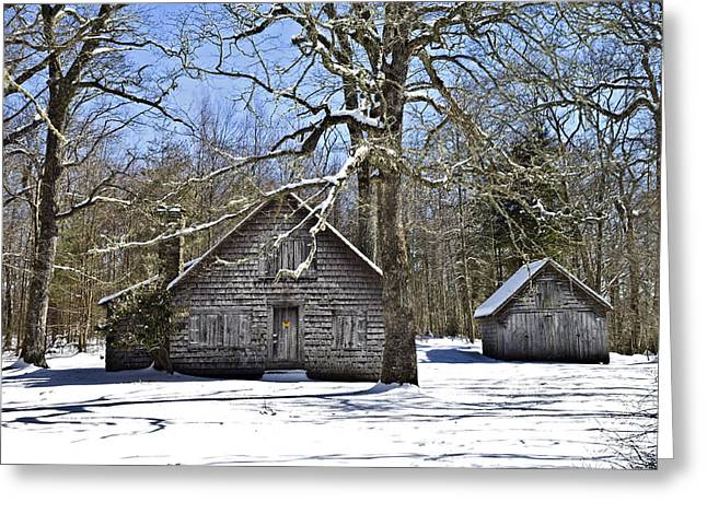 Vintage Buildings In The Winter Snow Greeting Card by Susan Leggett