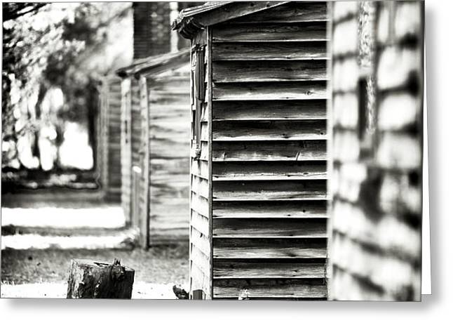 Vintage Cabins Greeting Card by John Rizzuto