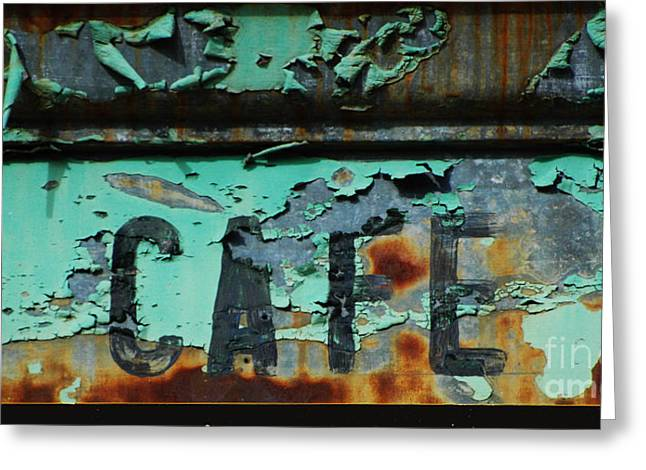 Patina Digital Art Greeting Cards - Vintage Cafe Sign Greeting Card by AdSpice Studios