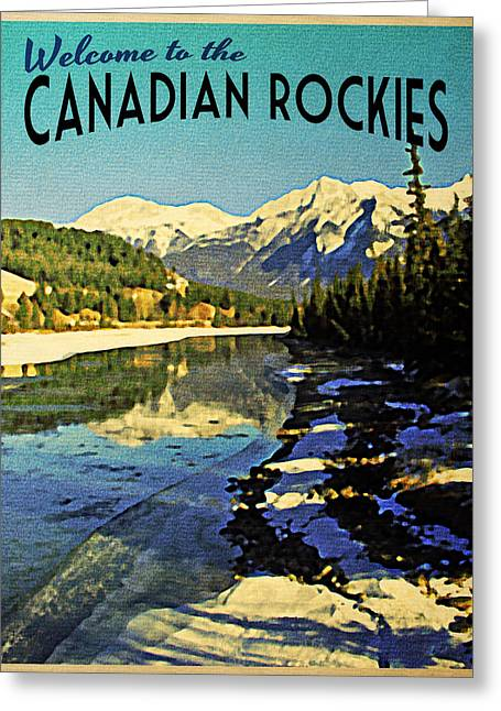 Rocky Mountain Posters Greeting Cards - Vintage Canadian Rockies Greeting Card by Flo Karp