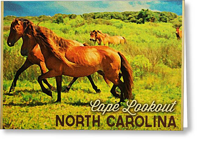 Cape Lookout Greeting Cards - Vintage Cape Lookout North Carolina Greeting Card by Flo Karp