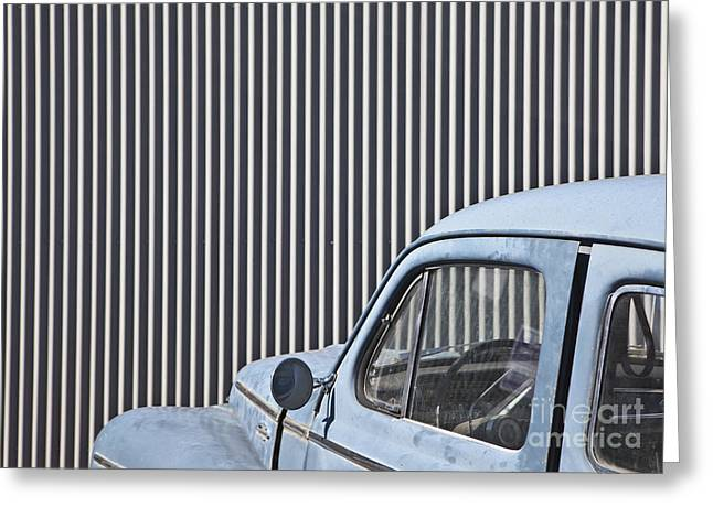 Unoccupied Greeting Cards - Vintage Car in Front of a Metal Wall Greeting Card by Paul Edmondson