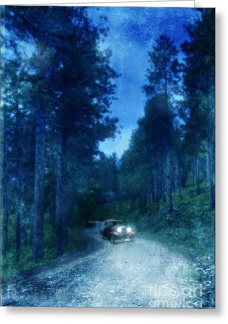 Country Dirt Roads Greeting Cards - Vintage Car on Dirt Road in Woods Greeting Card by Jill Battaglia