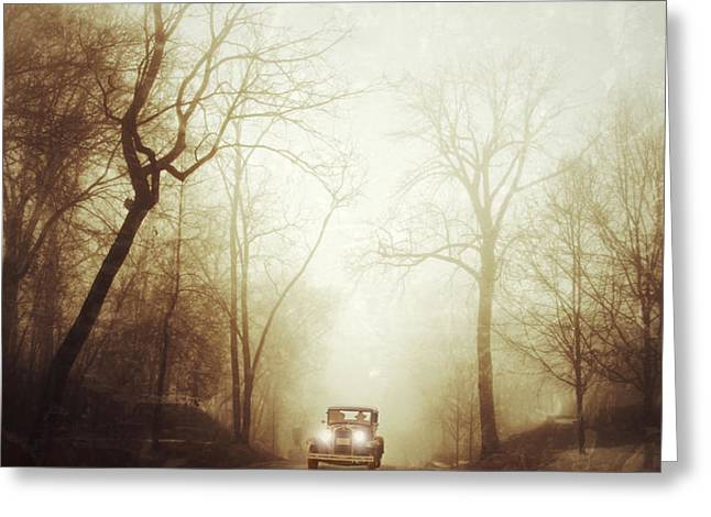 Vintage Car on Foggy Rural Road Greeting Card by Jill Battaglia