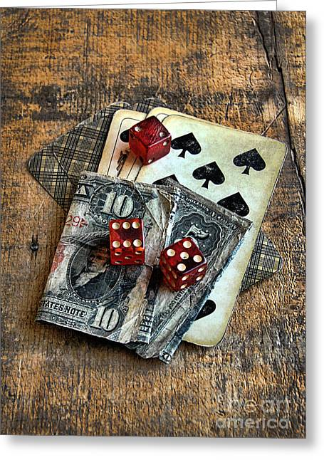Playing Cards Photographs Greeting Cards - Vintage Cards Dice and Cash Greeting Card by Jill Battaglia