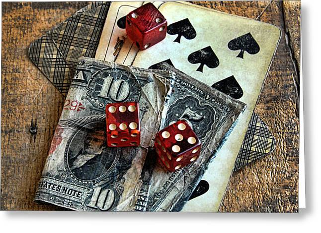 Vintage Cards Dice and Cash Greeting Card by Jill Battaglia