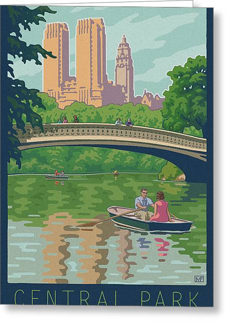 Bow Greeting Cards - Vintage Central Park Greeting Card by Mitch Frey