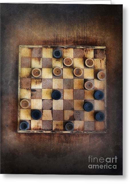 Game Piece Greeting Cards - Vintage Checkers Game Greeting Card by Jill Battaglia