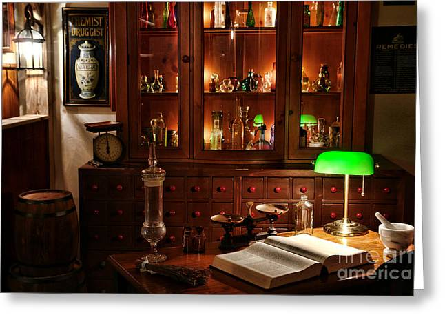 Vintage Chemist Desk In Apothecary Shop Greeting Card by Olivier Le Queinec