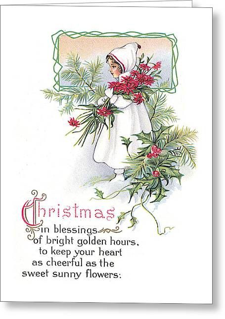 Girl In Snow Greeting Cards - Vintage Christmas Blessings Greeting Card by Unknown