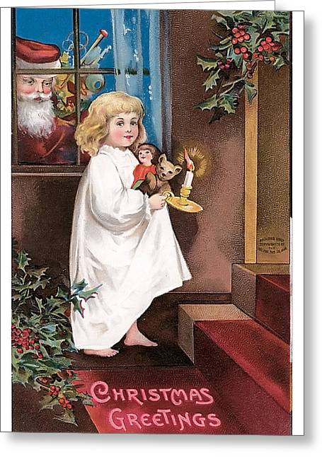 Child With Teddy Bear Greeting Cards - Vintage Christmas Greetings Greeting Card by Unknown