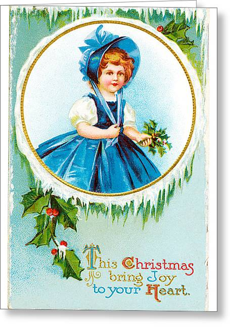 Girl In Snow Greeting Cards - Vintage Christmas Joy Greeting Card by Unknown