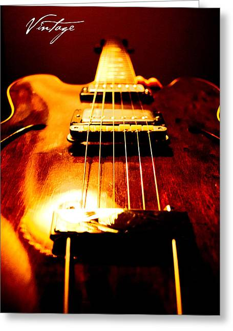 Blues Guitar Greeting Cards - Vintage Greeting Card by Christopher Gaston