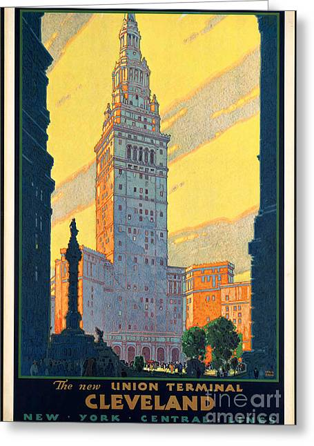 Recently Sold -  - Historic Ship Greeting Cards - Vintage Cleveland Travel Poster Greeting Card by George Pedro