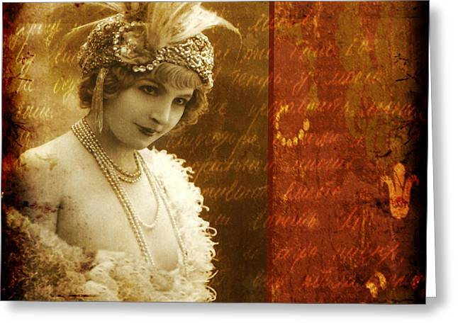 Vintage Beauty Greeting Cards - Vintage Collage 4 Greeting Card by Angelina Cornidez