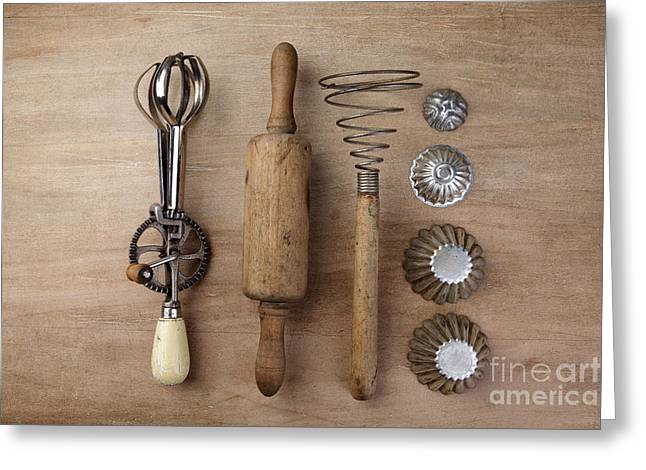 Vintage Cooking Utensils Greeting Card by Nailia Schwarz