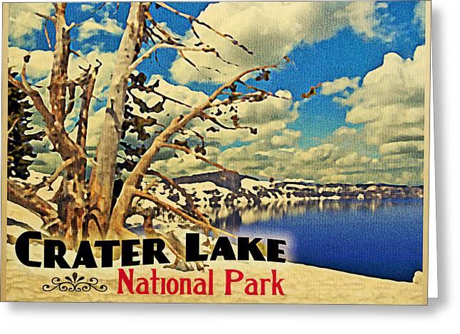 Crater Lake Greeting Cards - Vintage Crater Lake Snow Scene Greeting Card by Flo Karp