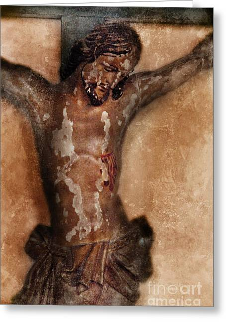 Crucifix Greeting Cards - Vintage Crucifix Greeting Card by Jill Battaglia