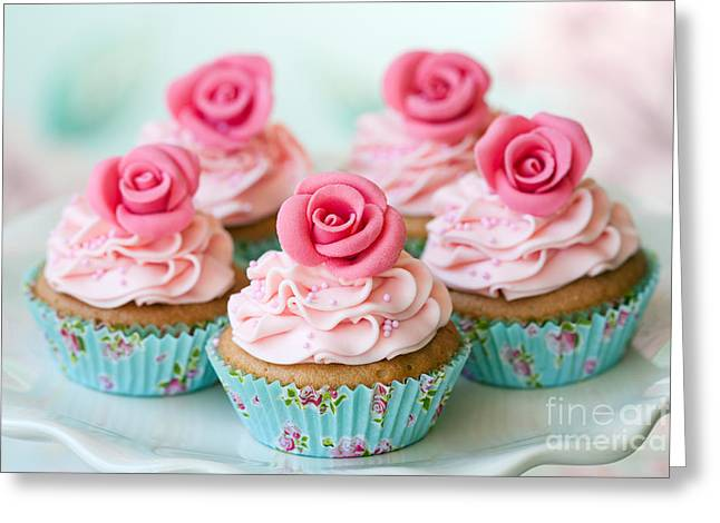 Frosting Greeting Cards - Vintage cupcakes Greeting Card by Ruth Black