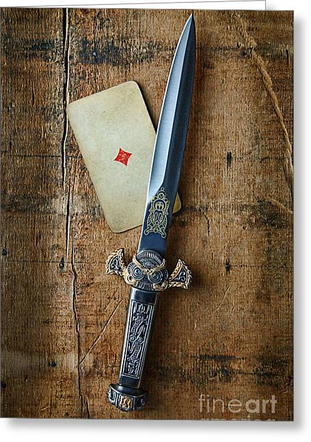 Playing Cards Greeting Cards - Vintage Dagger on Wood Table with Playing Card Greeting Card by Jill Battaglia