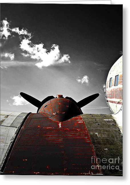 Vintage Airplane Greeting Cards - Vintage Dc-3 Aircraft  Greeting Card by Steven  Digman