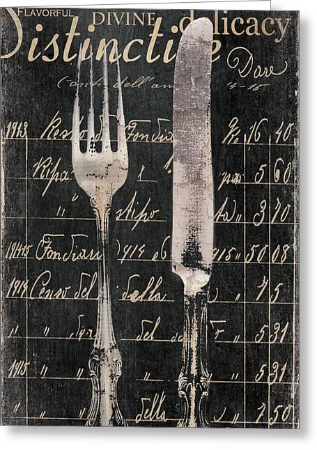 Dine Greeting Cards - Vintage Dining Utensils in Black  Greeting Card by Grace Pullen