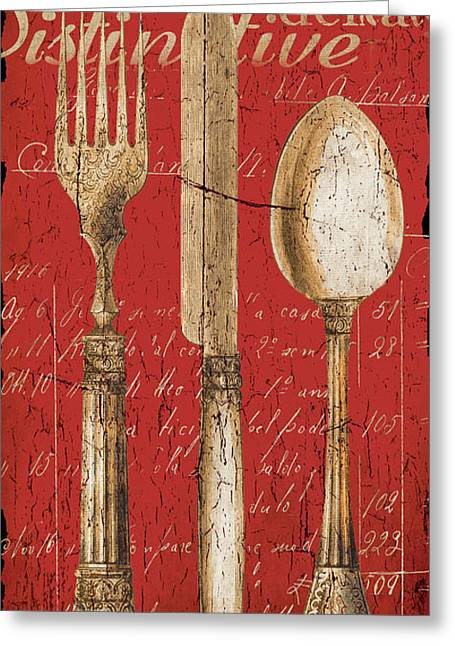 Eating Greeting Cards - Vintage Dining Utensils in Red Greeting Card by Grace Pullen