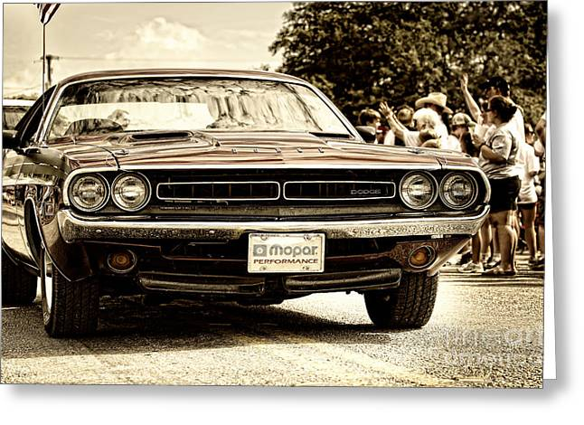 4th Of July Parade Greeting Cards - Vintage Dodge Charger Greeting Card by Andre Babiak