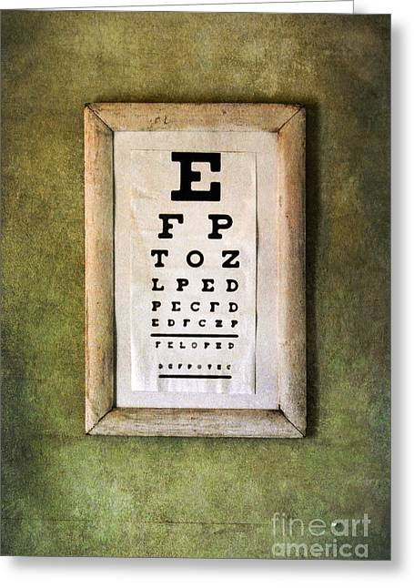 Optometrist Greeting Cards - Vintage Eye Chart Greeting Card by Jill Battaglia