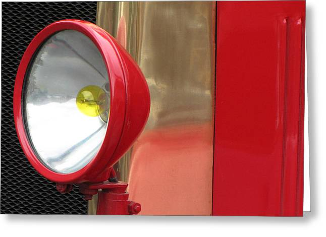 Red And Gold Greeting Cards - Vintage Fire Truck Headlight Greeting Card by Tony Grider