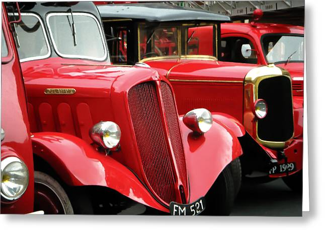 Old Trucks Greeting Cards - Vintage Fire Trucks Greeting Card by Tony Grider