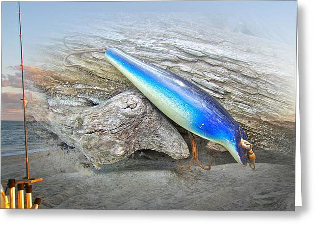 Nike Greeting Cards - Vintage Fishing Lure - Floyd Roman Nike Blue and White Greeting Card by Mother Nature