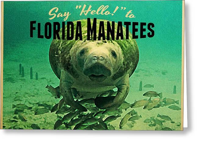 Sea Life Digital Art Greeting Cards - Vintage Florida Manatees Greeting Card by Flo Karp