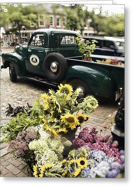 New England Village Greeting Cards - Vintage Flower Truck-Nantucket Greeting Card by Tammy Wetzel