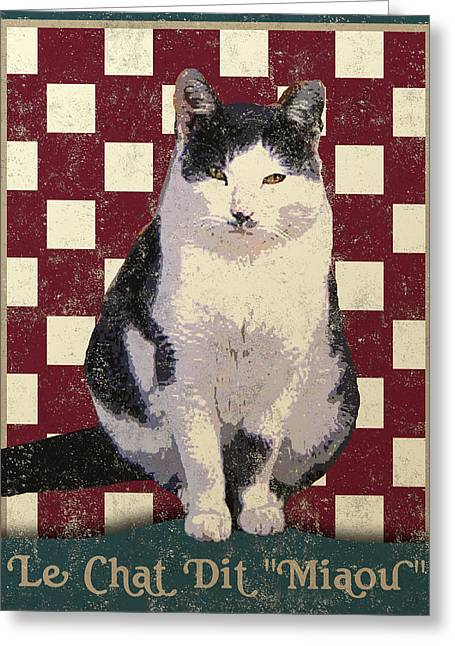 Le Cat Greeting Cards - Vintage French Bistro Cat Greeting Card by Flo Karp
