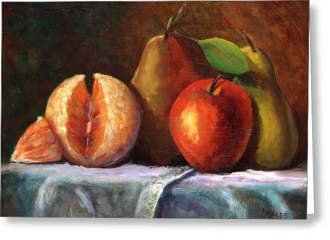 Pears Paintings Greeting Cards - Vintage-Fruit Greeting Card by Linda Hiller