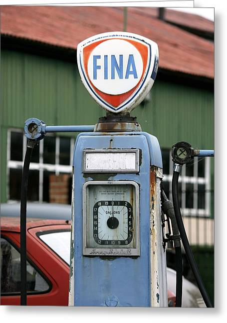 Fuel Gauge Greeting Cards - Vintage Fuel Pump Greeting Card by Martin Bond